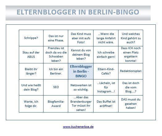 Elternblogger in Berlin Bingo