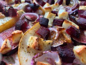 Einfaches Familien-Rezept Buchweizen-Flammkuchen mit Birne